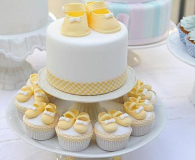 Yellow Booties Baby Shower Cake and Cupcakes
